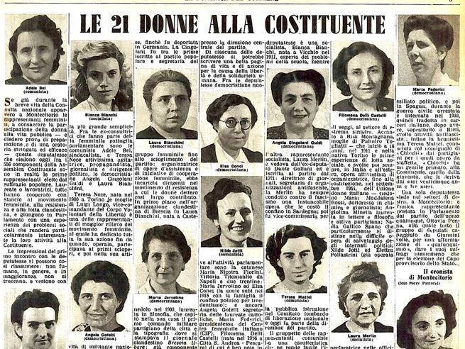 Mozione circa la intitolazione di una strada o di un luogo pubblico alle 21 donne che nel 1946 parteciparono alla Assemblea Costituente